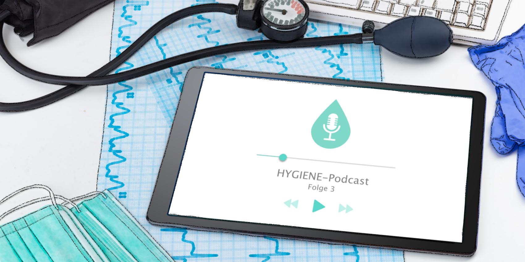 Tablet mit einem Podcast zum Thema Hygiene